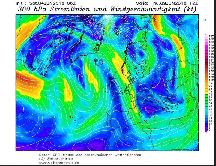 Die GFS-Prognose vom 4. Juni 2016 für die Luftdruckverteilung und den Polarjet für den 9. Juni 2016. Die Großwetterlage zeigt einen kalten und umfangreichen Tog über Osteuropa mit einem blockierenden Hoch über dem Nordatlantik. Dazwischen strömt hochreichende polare Kaltluft mit einem nordwestlichen Polarjet in große Teile Europas: Die Schafskälte ist da, der europäische Sommermonsun bei der Arbeit. Quelle: