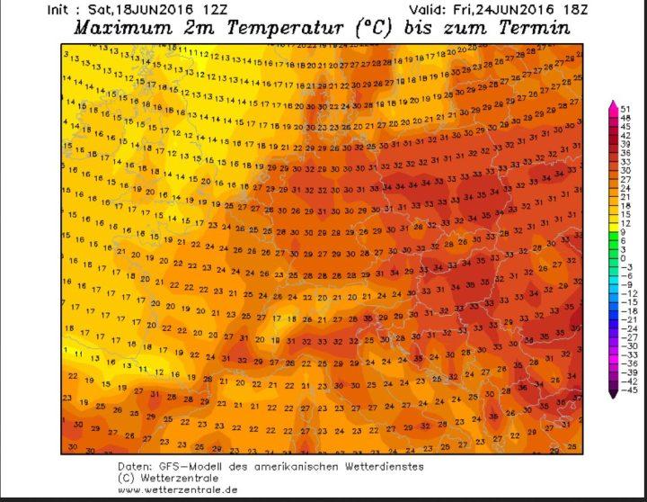 GFS-Prognose der 2m-Höchsttemperaturen (Tmax) vom 18. 6. für den 24.6.2016. Die Tmax in Deutschland liegen verbreitet bei hochsommerlichen um 30°C. Quelle: