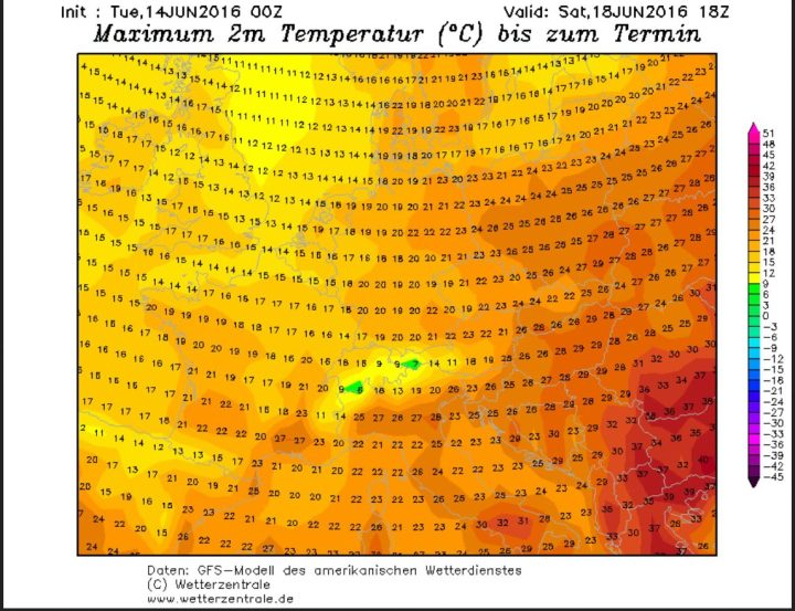 GFS-Prognose der 2m-Höchsttemperaturen (Tmax) vom 14. 6. für den 18.6.2016. Die Tmax in Deutschland liegen verbreitet bei unsommerlichen unter 20°C. Quelle: