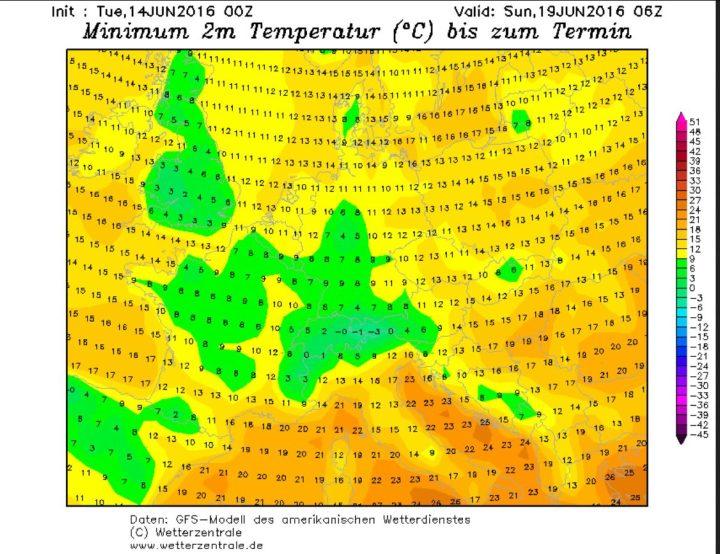 GFS-Prognoser der 2m-Tiefsttemperaturen (Tmin) vom 14.6. für die Nacht zum 20.6.2016. Die Tmin in Deutschland liegen gebietsweise im einstelligen Bereich, Bodenfrost ist stellenweise bei Tmin unter 5°C möglich. Quelle: