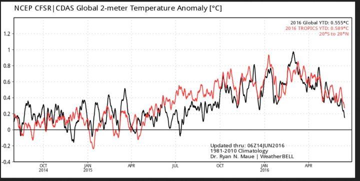 Der Plot zeigt die gemessenen/berechneten 2m-Temperaturabweichungen global (schwarze Linie) und in den Tropen (rote Linie). Nach einem Höhepunkt Ende Februar 2016 sind die globalen Temperaturen bis zum 14.6.2016 kräftig gefallen, in den Tropen bereits seit Januar 2016. Quelle: http://models.weatherbell.com/temperature.php