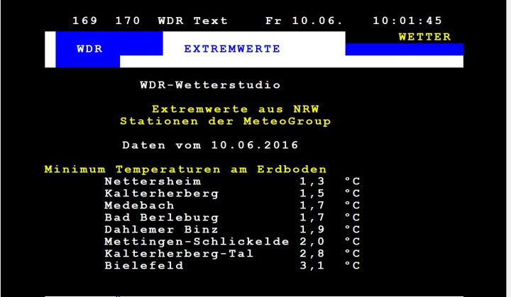 WDR-Videotext mit den Minima der Bodentemperaturen in der Nacht zum 10.6.2016. Die Tieftstemperaturen liegen wegen der Schafskälte in den höheren Lagen von NRW (Eifel und Sauerland) nur noch knapp über 0° Celsius. Quelle: