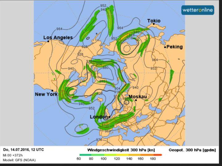 GFS-Prognose für den Polarjet mit unsommerlich kaltem Höhentrog über Mitteleuropa am 14.7.2016. Insgesamt sind 5 Rossbywellen zu erkennen, was auf eine rasche Drehbewegung des gesamten Systems von West nach Ost (links nach rechts gwgen den Uhrzeigersinn) schließen lässt. Quelle: http://www.wetteronline.de/profiwetter/europa