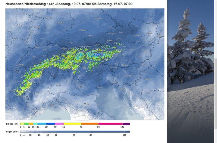 Die Beregfex-Alpenschneevorhersage für die Woche vom 10. bis 16. Juli(!) 2016. Mitte Juli 2016 werden in den Hochalpen bis runter auf 2000m verbreitet Schneefälle erwaret, in den Ostalpen bis zu 70 cm Schneehöhe. Quelle: