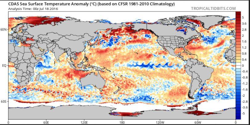 Der CDAS-Index zeigt die täglichen globalen Abweichungen der SST. Mitte Juli 2016 schlängelt sich La Niña (blaue Farben) bereits gut erkennbar über weite Strecken des äquatorialen Pazifiks. Quelle: wie vor