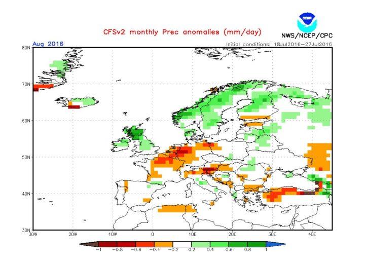 Die CFSv2-Prognose für den Niederschlag vom 29.7.2016 für den August 2016 in Europa. Die gelb/roten Farben zeigen in Teilen Deutschlands kräftige negative Niederschagsabweichungen. Quelle: