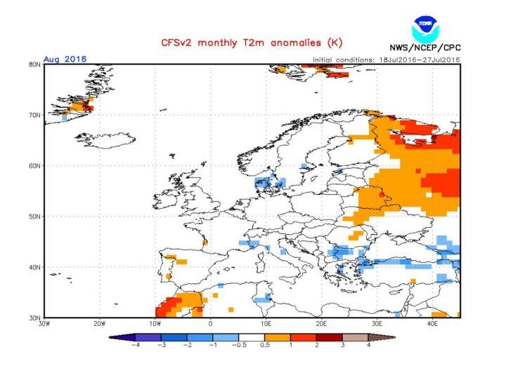 NOAA-CFSv2-Prognose der Temperaturabweichungen (2m) für Europa vom 29.7.2016 im August 2016. Deutschland liegt - wie große Teile Europas auch - im (weißen) durchschnittlichen Bereich um -0,0 K Abweichung. Quelle: