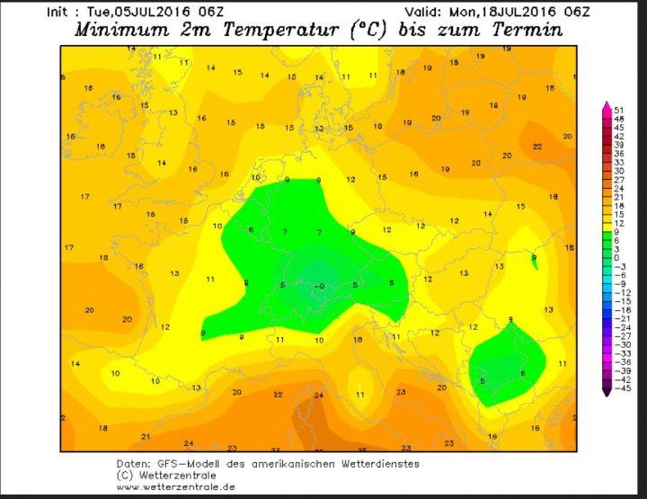 GFS-Prognoser der 2m-Tiefsttemperaturen (Tmin) vom 4. Juli für die Nacht zum 18. Juli 2016. Bei gebietsweisen Tmin/2m um 0 Grad Celsius sind in Teilen Süddeutschlands Bodenfrost und nächtlicher Schneefall bis in mittlere Lagen möglich. Quelle: