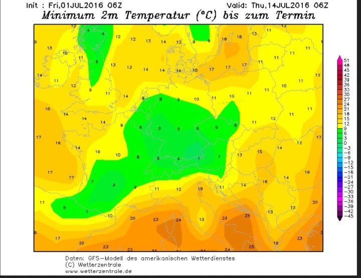 GFS-Prognoser der 2m-Tiefsttemperaturen (Tmin) vom 1. Juli für die Nacht zum 14. Juli 2016. Die Tmin in Deutschland liegen gebietsweise im einstelligen Bereich, Bodenfrost und nächtlicher Schneefall sind bei Tmin um 1°C im Südosten Deutschland bis in mittlere Lagen möglich. Quelle: