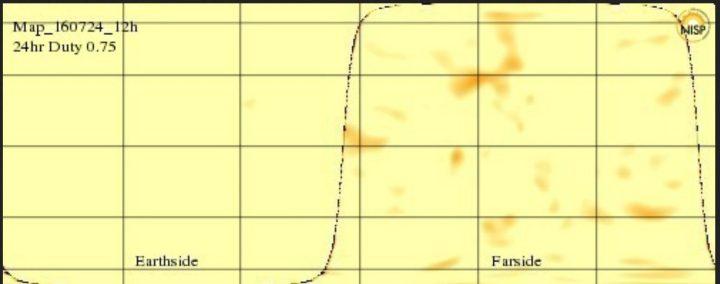 Das aktuelle GONG-Farside Image vom 24.6.2016 zeigt auf der erdabgewandten Seite links einen größeren dunklen Sonnenfleck, der soeben die erdzugewandte Seite nach rechts verlassen hat. Die erdzugewandte Seize ist nun fleckenlos. Quelle: http://farside.nso.edu/