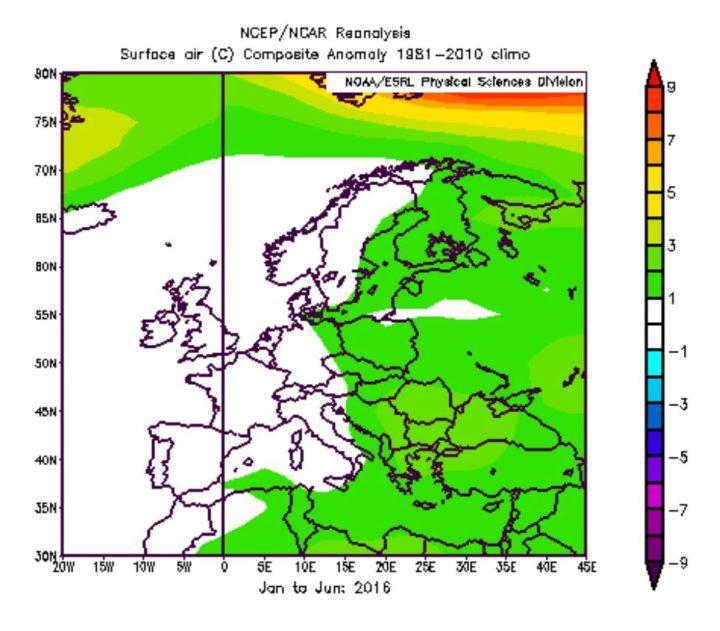 NOAA-Reanalyse der Abweichungen der 2m-Temperaturen in Europa im zweiten Jahr eines El Niño-Ereignisses wie 1983, 1998 und 2016. Die Durchschnittstemperaturen im ersten Halbjahr 2016 lagen in Deutschland und Westeuropa überwiegend im Durchschnitt. Von Klimaerwärmung keine Spur. Quelle: