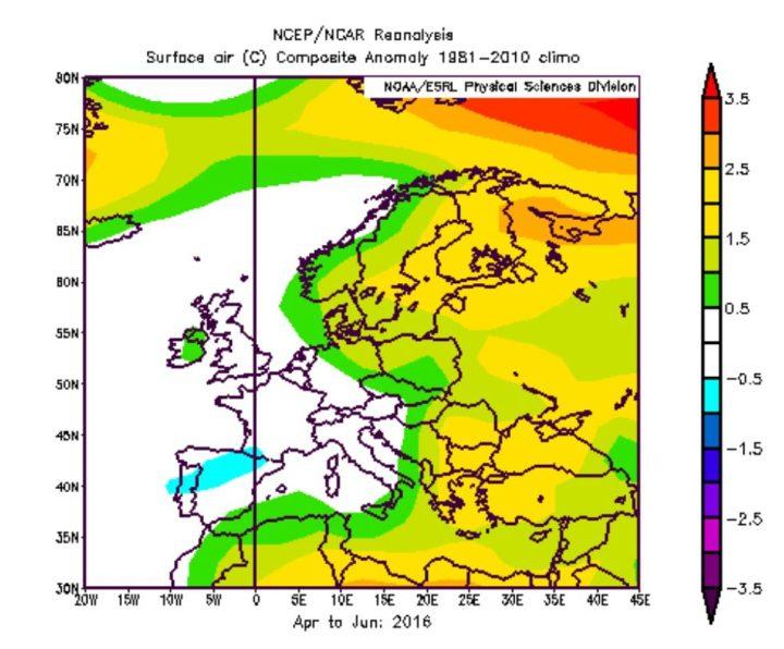 NOAA-Reanalyse der Abweichungen der 2m-Temperaturen in Europa im zweiten Jahr eines El Niño-Ereignisses wie 1998 und 2016. Die Durchschnittstemperaturen von April bis Juni 2016 lagen in Deutschland leicht über dem Durchchnitt. Quelle: