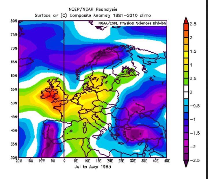 NOAA-Reanalyse der Abweichungen der 2m-Temperaturen in Europa im zweiten Jahr eines El Niño-Ereignisses wie 1983, 1998 und 2016. Die Durchschnittstemperaturen von Juli bis August 1983 lagen in Deutschland und Mitteleuropa deutlich unter dem Durchschnitt. Quelle: