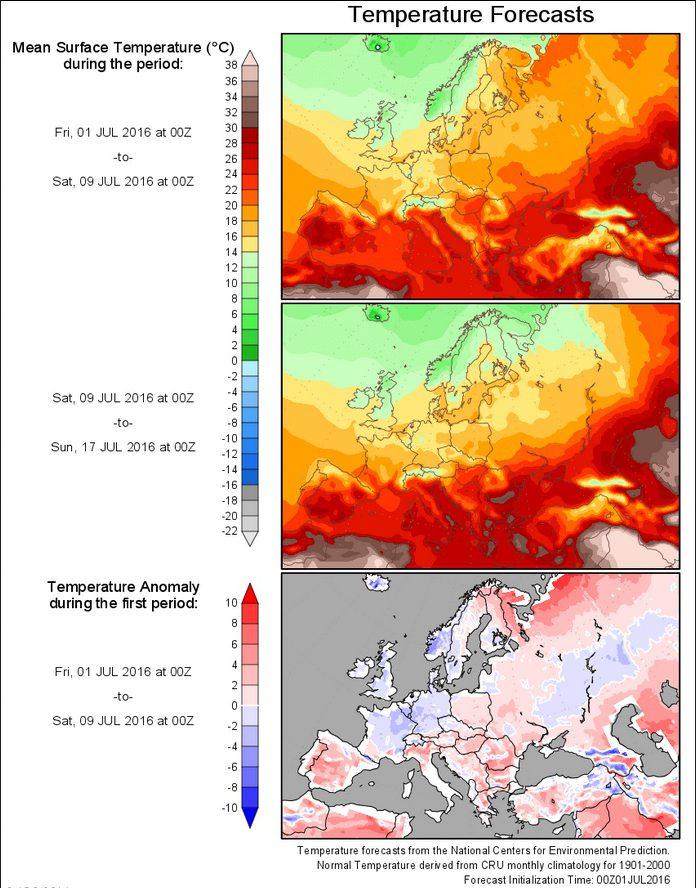 NOAA-NCEP-Temperatur-Prognose (2m) für die Zeit vom 1. bis 17 Juli 2016. Die Temperaturabweichungen in der unteren Grafik zeigen für Deutschland T-Abweichungen um -1 K zum (kalten) Klimamittel 1901-2000 für die kommende Woche. Quelle: