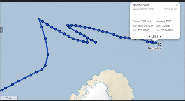"""Ende Juli 2016 irrt das """"Narrenschiff"""" südlich der undurchdringlichen Eisbarrieren im Eismeer herum. Quelle:"""