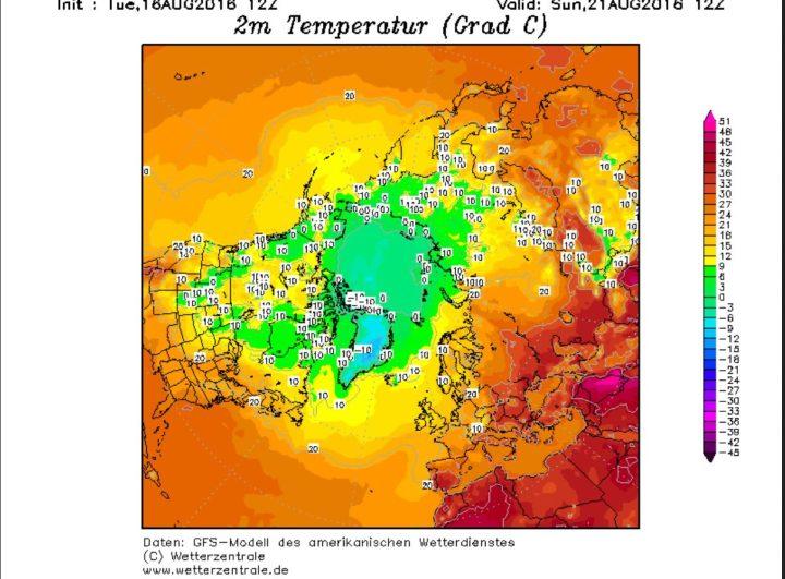 Die GFS-Prognose vom 16.8.2016 für die 2m Temperaturen am 21.8.2016 in der Arktis. Große Flächen sind bereits mit Frost überzogen, in der inneren Arktis bis zu -9°C (hellblaue Farben). WQuelle: wiw vor