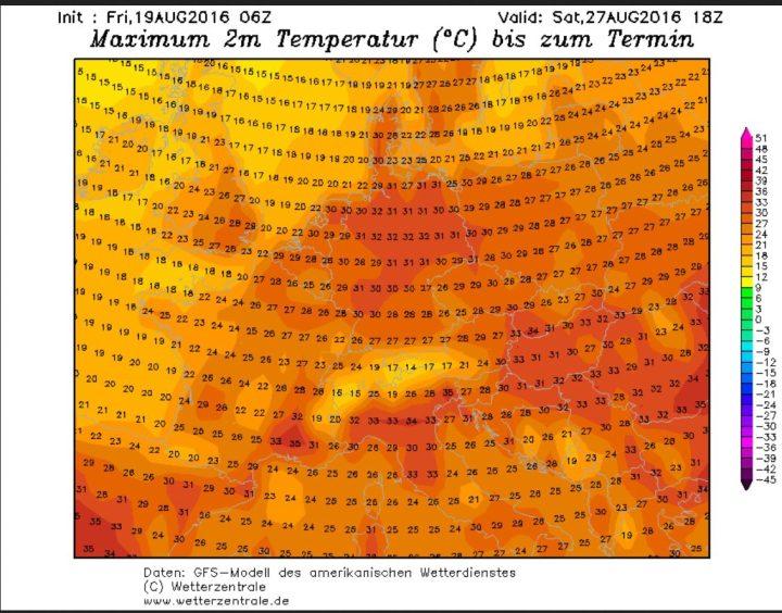 GFS-Prognose der 2m-Höchsttemperaturen (Tmax) vom 19. 8. für den 27.8.2016. Die Tmax in Deutschland liegen verbreitet bei hochsommerlichen 30°C. Quelle: