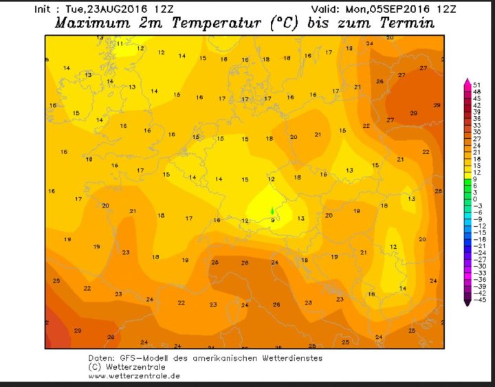 """GFS-Prognose vom 23.8. für die Tmax am 5.9.2016. Nach Durchgang des Ex-Hurrikans """"Gaston"""" (ehemalige """"Schallplatte"""") wird auf seiner Rückseite polare und herbstlich kühle Meeresluft nach West- und Mitteeuropa geführt. Quelle: wie vor"""