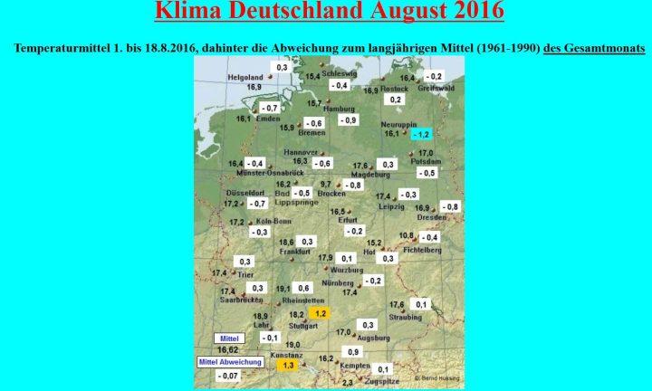 Die Grafik von Bernd Hussing zeigt die Abweichungen der Temperaturen in Deutschland von 1. bis 18. August 2016 zum veralteten (kälteren) Klimamittel 1961-1990 von -0,07 K. Zum modernen (milderen) WMO-Klimamittel 1981-2010 beträgt die Abweichung -1,07 K. Quelle: http://imkhp2.physik.uni-karlsruhe.de/wetterwerte.html
