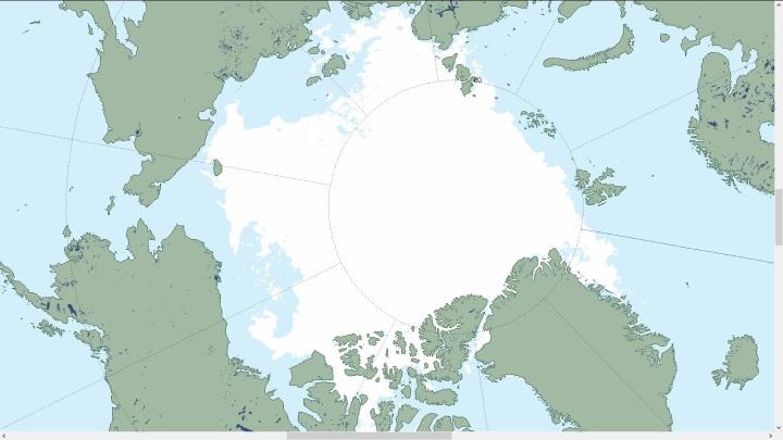 Die Darstellung des NSIDC der artkischen Meereisflächen am 3.8.2016. Die Eisflächen auf der russischen Seite (oben) reichen über hunderte Kilometer bis an die Küste. Da gibt es in diesem Jahr kein Durchkommen für Klimanarren mit einem Segelschiff, zumal ab Mitte August die Strahlungsbilanz in der Arktis wieder negativ wird: Es kühlt ab und friert zu. Quelle: