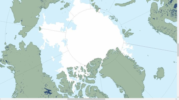 Die MAISIE-Grafik vom NSIDC vom 23.8.2016 zeigt den täglichen Sea ice Extent. Die Nordwestpassage (unten) ist durch Eismassen völlig blockiert. Ohne Eisbrecher gibt es keine Durchfahrt. Ab Motte September frieren die offenen Flächen wieder zu. Quelle: