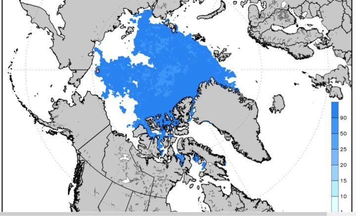 Die Meereisgrafik (extent) vom 24.8.2016 zeigt sowohl die Nordwest- (unten) als auch die Nordostpassage (oben) durch Eismassen blockiert. (blaue Flächen). Ohne Eisbrecher gibt es keine Durchfahrt! Quelle: