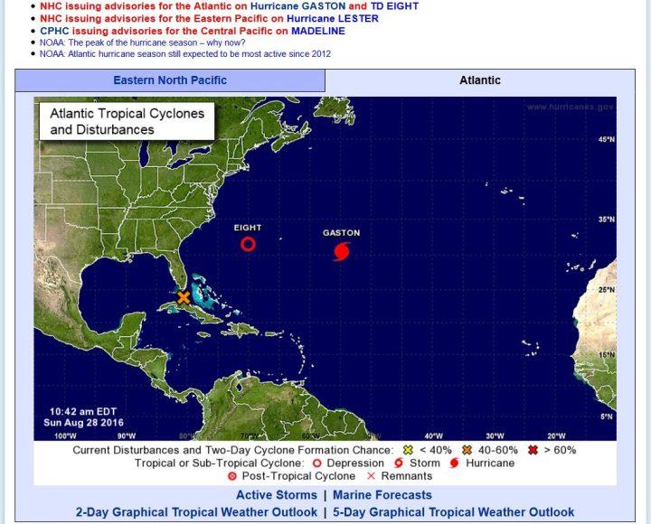 """Die aktuelle NOAA-Grafik zeigt den Hurrikan (H) """"Gaston"""", der es entgegen der Prognosen vom 23.8.2016 nicht am 24., sondern erst in der Nacht zum 28.8.2016 vom TS zum Hurrikan geschafft hat. Quelle:"""