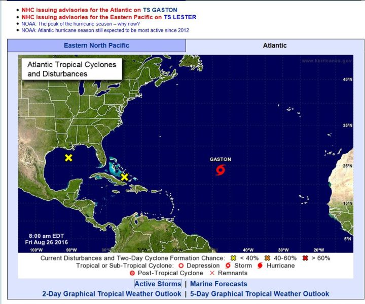"""Die aktuelle NOAA-Grafik zeigt den Tropischen Sturm (TS) """"Gaston"""", der es bis heute wntghegen der Prognosen von vorgerstern immer noch nicht zum Hurrikan (H) geschaft hat. Quelle:"""