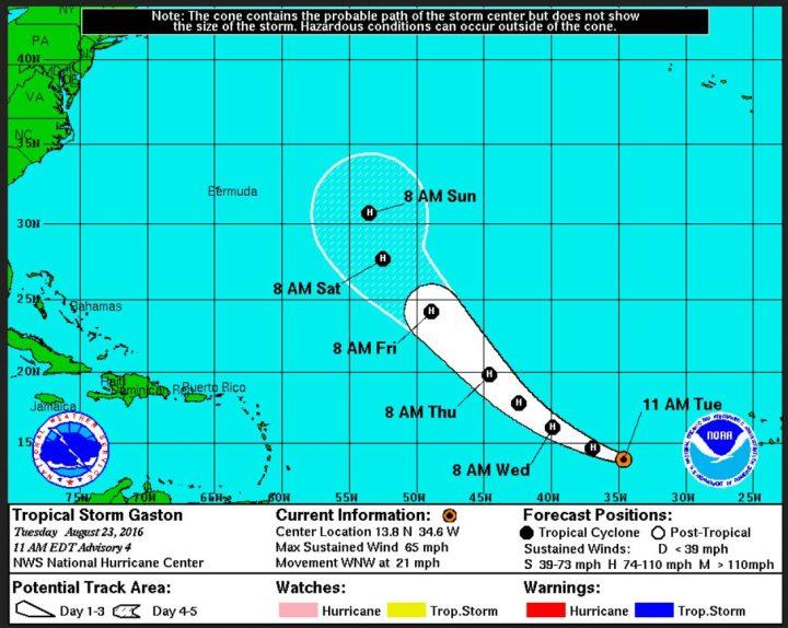 """Die NOAA-Prognose für die weitere Entwicklung des Tropischen Sturms (TS) """"Gaston"""" und seine rasche Entwicklung zum Hurricane (H). Die Zeiten sind in der Zeitzone ADT angeben."""