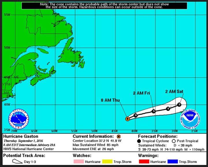 """Die NOAA-Prognose sieht das Ende von Hurrikan (H) """"Gaston"""" in der Nacht zum 2.9.2016. Er entwicklet sich westlich der Azoren zum Tropischen Sturm (S) zurück. Quelle:"""