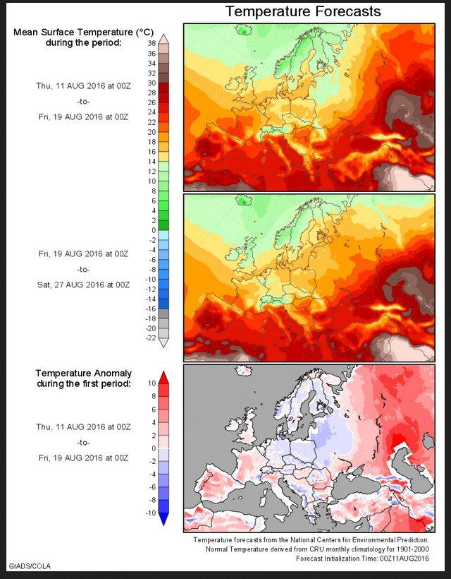 Kühle Prognose (blaue Flächen) der Durchschnitts-Temperaturen in Deutschland vom 11. Januar bis zum 27. August 2016. Quelle: