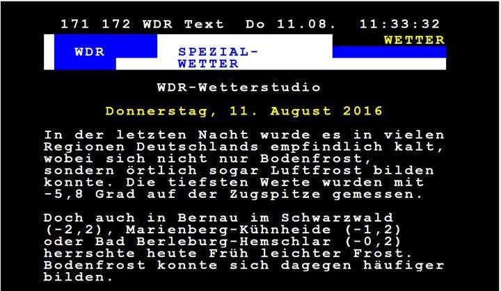 WDR-Videotext vom 11.8.2016.