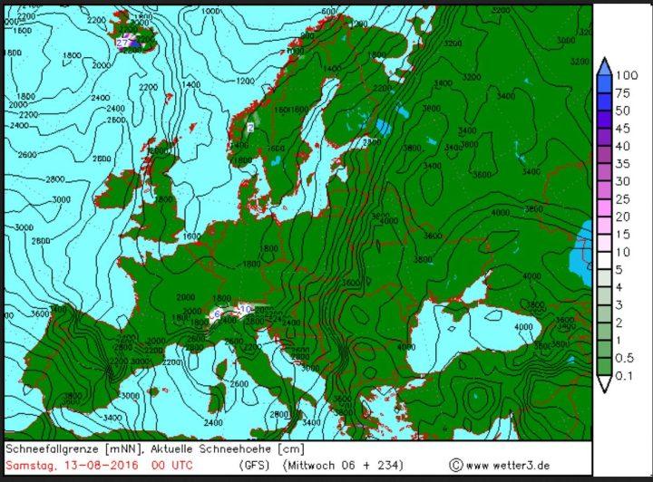 Wetter3/GFS-Prognose für Schneefall und Schneefallgrenze vom 3. August 2016 für den 13. August 2016. In den Hochalpen werden hochsommerliche Schneefälle erwartet, wie schon Mitte Juli 2016... Quelle: