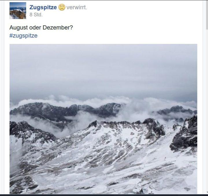 August oder Dezemnber? Schon wieder Augustschnee auf der Zugspitze. Foto vom 10.8.2016, ca. 08.30 Uhr MESZ. Quelle: