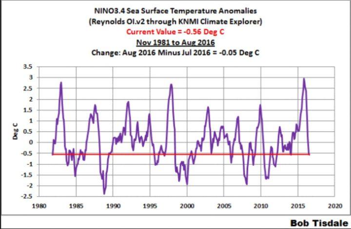 Der Plot zeigt den Verlauf der Abweichungen der Meeresoberflächentemperaturen (SSTA) im Niño-Gebiet 3.4. Die Abweichungen lagen bereits im Mai 2016 mit 0,3 K unterhalb des El Niño-Wertes von mindestens 0,5 K. Im August 2016 hat sich der kräftige Rückgang um -0,37 K gegenüber Juni 2016 auf La Niña Bedingungen von nun -0,56 K fortgesetzt. Auffällig ist der deutliche Unterschied zu den wiederholt verfälschten (gekarlten) Werten von NOAA von 0,64(!) K für den Monat Mai 2016, 0,11 K im Juni und -0,21 K im Juli 2016. Quelle: July 2016 Sea Surface Temperature (SST) Anomaly Update