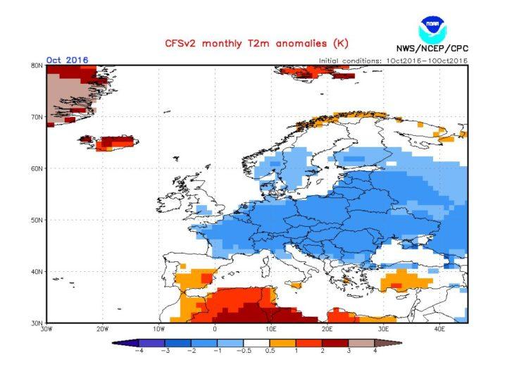 Die CFSv2-Prognose von Mitte Oktober 2016 für die Abweichungen der 2m-Temperaturen vom vieljährigen Klimamittel in Europa im Oktober 2016. Große Teile Europas - auch Deutschland - werden nun mit negativen Abweichungen von -0,5 bis minus zwei Grad Celsius gerechnet - ein kalter Oktober 2016! Quelle: