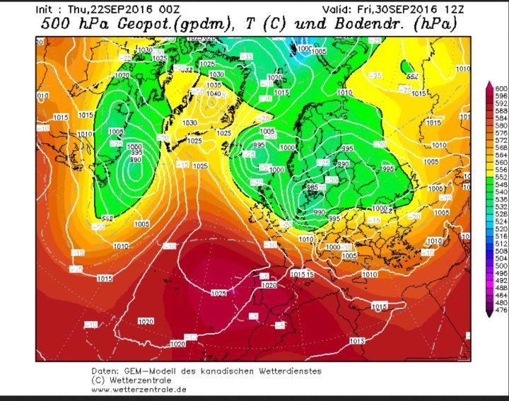 GEM-Prognose vom 22.9.2016 für die Bodenwetterkarte am 30.9.2016. Zwischen einem kräftigen Tiefkomplex über Skandinavien und Mitteleuropa und hohem Druck über dem Nordatlantik werden in breitem Strom hochreichende hebstlich kalte und feuchte arktische Luftmassen nach West- und Mitteleuropa geführt. Quelle: