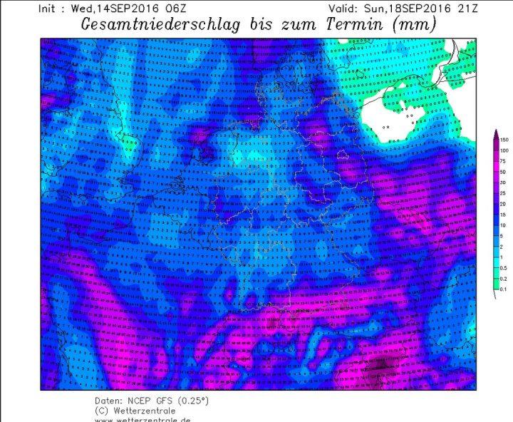 Die GFS-Prognose der Niederschlagsmengen vom 14.9.2016 für den Zeitraum bis zum 18.9.3016 in Europa. Vor allem in den Alpen werden Niedrschlagsmengen über 100 l/m² erwartet, die nach einem Temperatursturz in den Hochalpen verbreitet als Schnee bis zu übet einem Meter fallen können. Quelle: