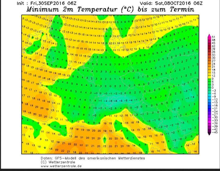 GFS-Prognose der Tagestiefsttemperaturen (Tmin) vom 30.9.2016 für den 8.10.2016. Mit Tmin bei oder unter 0°C vor allem in der Südhälfte Deutschlands tritt verbreitet Nachtfrost auf. Quelle: