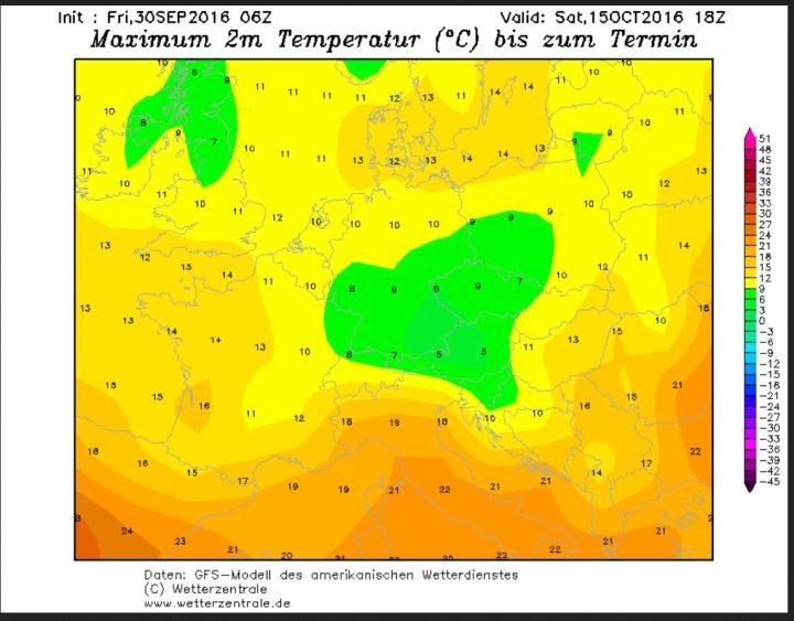 GFS-Prognose der Tageshöchsttemperaturen (Tmax) vom 30.9.2016 für den 15.10.2016. Mit Tmax vor allem in der Südhälfte Deutschlands im einstelligen Bereich sind in den Hochlagen der deutschen Mittelgebirge selbst tagsüber Schneefälle möglich. Quelle: