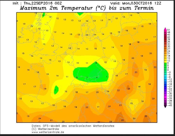 GFS-Prognose der Tageshöchsttemperaturen (Tmax) vom 22.9.2016 für den 3.10.2016. Mit Tmax vor allem in der Südhälfte Deutschlands im einstelligen Bereich sind in den Hochlahen der deutschen Mittegebirge selbst tagsüber Schneefälle möglich.