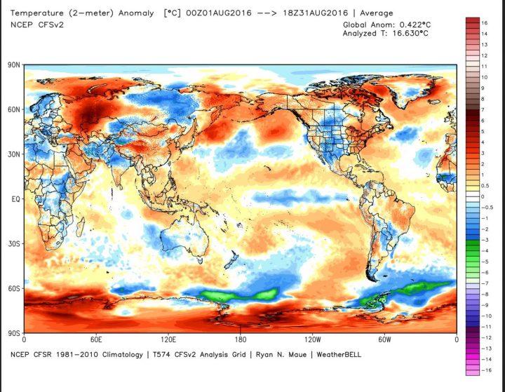 Die Analyse der globalen 2m-Temperaturabweichungen (TA) von August 2016. Der August 2016 liegt nach Rang 3 im Juni seit Juli 2016 nun wieder auf Rang 1 von 38 Jahren knapp vor 2003 mit 0,33 K. (Image MouseOver Tool). Quelle: http://models.weatherbell.com/temperature.php
