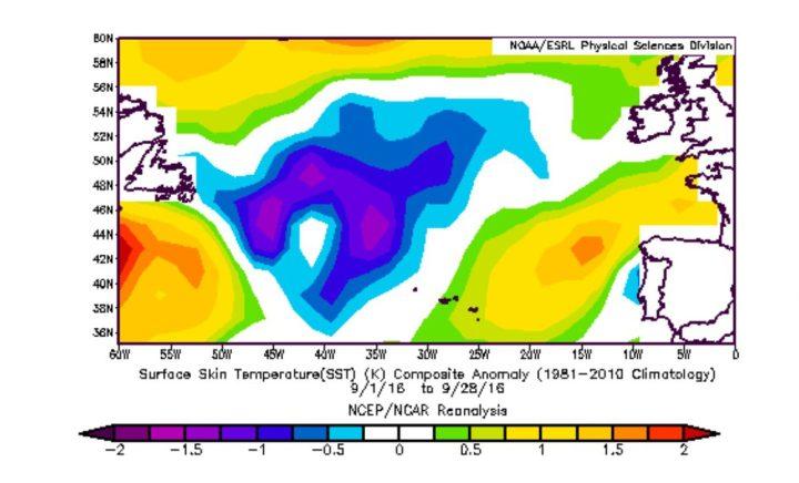 Die Grafik zeigt die Abweichungen der Meeresoberflächentemperaturen (SSTA) vom 1. bis 28. September 2016. Die lilafarbenen und blauen Flächen weisen auf negative Abweichungen des Jahres 2016 im nördlichen Nordatlantik zum WMO-Klimamittel 1981-2010 hin. Quelle:
