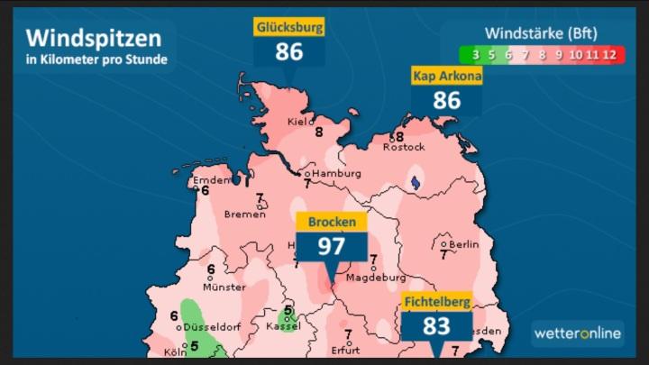 Die WO_Grafik zeigt die Windspitzen in km/h am Mittwoch, den 28.9.2016. Quelle: