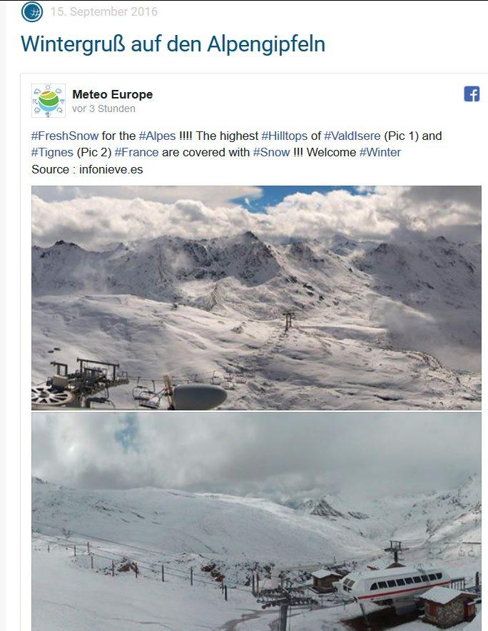 ´Während weiter Teile Mitteleuropas heute nochmals einen Spätsommertag erleben, gibt in den Hochlagen der französischen Alpen der Winter ein erstes Stelldichein. Dort hat es in kühler Atlantikluft in den Gipfellagen kräftig geschneit, erste Wintergrüße zum start in die bald beginnende, neue Wintersport-Saison. Quelle: wie vor