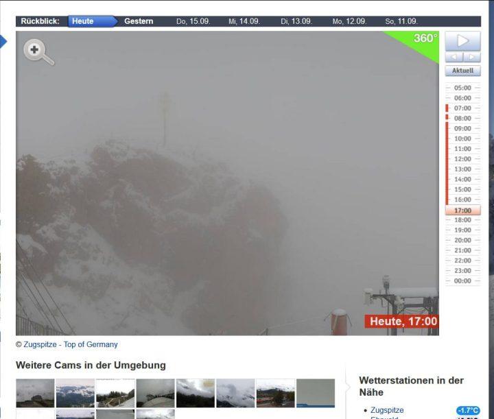 Webcam-Foto mit Schneetreiben auf der Zugspitze bei -1,7°C am 17.9.2016, 17.00 Uhr MESZ. Quelle: wie vor
