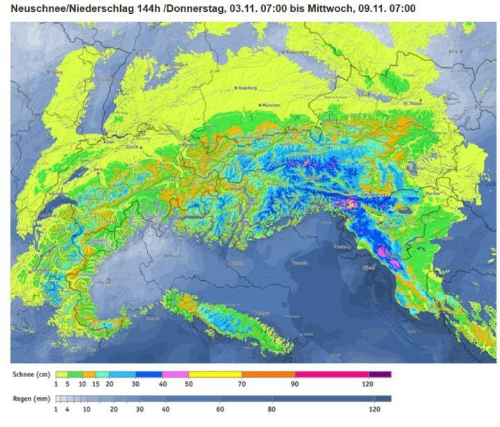 Bergfex-Alpenschneeprognose vom 3. bis zum 9.11.2016. Sowohl in den Alpen als auch in der weiteren Umgebung werden Schneefälle bis in tiefe Lagen erwartet, die beeits in tieferen Lagen um 300 m eine Schneedecke bilden können. Quelle: http://www.bergfex.de/schneevorhersage/?t=0_144