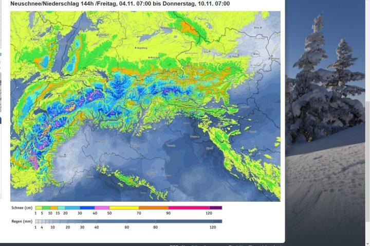 Bergfex-Alpenschneeprognose vom 4. bis zum 10.11.2016. Sowohl in den Alpen als auch in der weiteren Umgebung werden Schneefälle bis in tiefe Lagen erwartet, die selbst in tieferen Lagen unter 300 m eine Schneedecke bilden können. Quelle: http://www.bergfex.de/schneevorhersage/?t=0_144