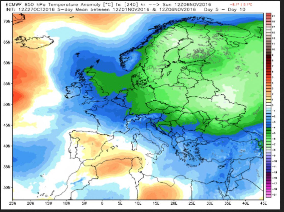 ECMWF-Prognose der Temperaturabweichungen in Europa in 850hPa (ca. 1500 m) vom 27.10.2016 für den Fünftagezeitraum vom 1. bis 6. November 2016. Große Teile Europas sind von frühwinterlicher Kälte (grüne Farben) mit Abweichungen zum WMO-Klimamittel 1981-2010 überzogen: Der Frühwinter ist da! Quelle: