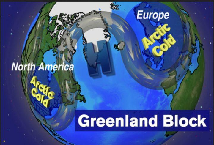 Die Grafik zeigt die mögliche Großwetterlage im Winter 2016/17 mit blockierendem Grönlandhoch und kräftigen eisigen Trögen des arkrischen Polarwirbels über Nordamerika und Europa. Quelle: wie vor